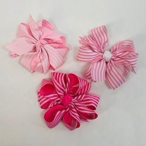 NEW BOWS Girls Trio of Pink and White Bows